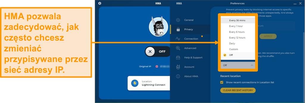 Zrzut ekranu aplikacji HMA VPN pokazujący funkcję IP Shuffle
