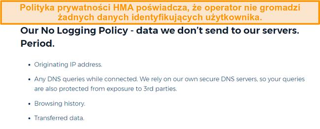 Zrzut ekranu z HMA VPN (Hidemyass) i jego polityki prywatności bez logowania