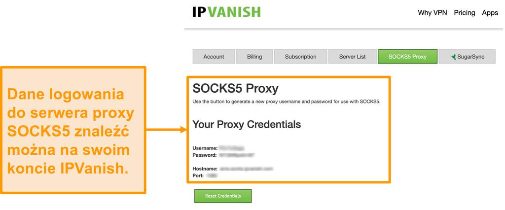 Zrzut ekranu przedstawiający bezpłatne poświadczenia serwera proxy SOCKS5 IPVanish na stronie internetowej