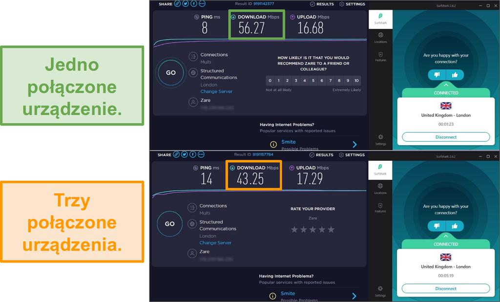Zrzut ekranu różnicy prędkości między 1 podłączonym urządzeniem a 3 podłączonymi urządzeniami