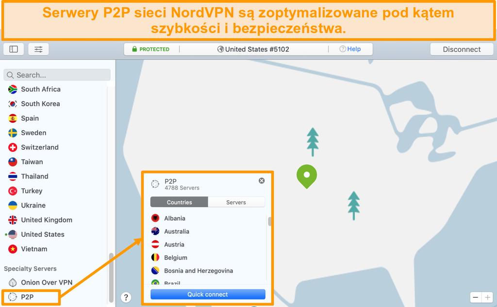 Zrzut ekranu serwerów P2P NordVPN w aplikacji Mac