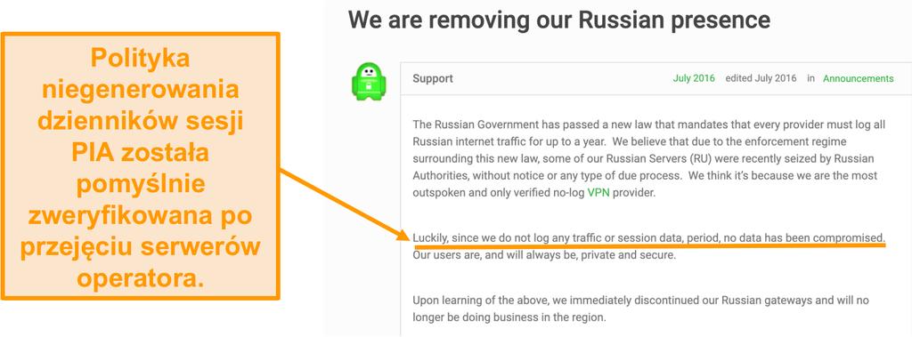 Zrzut ekranu strony internetowej Private Internet Access VPN z postem na blogu opisującym powód wycofania PIA z Rosji