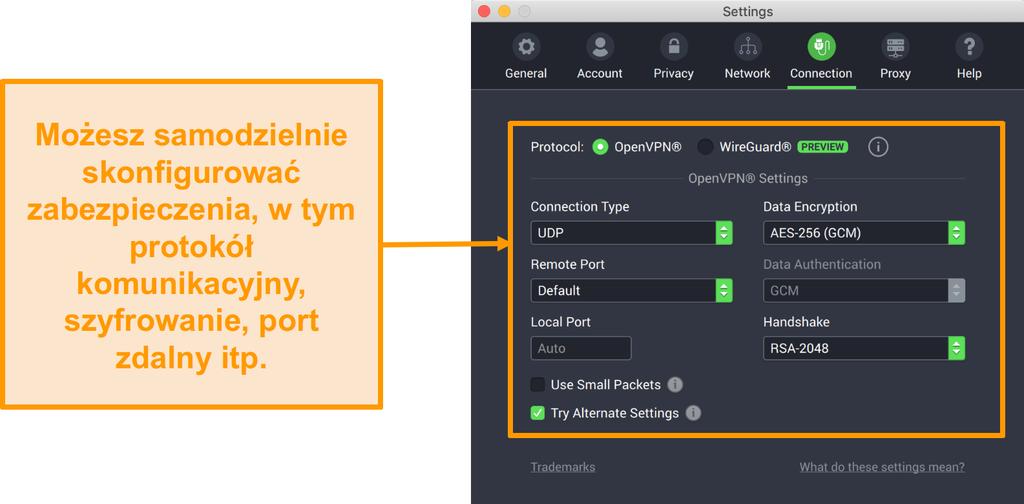 Zrzut ekranu z Private Internet Access VPN i jego aplikacji dla komputerów Mac z opcjami dostosowywania karty Połączenie