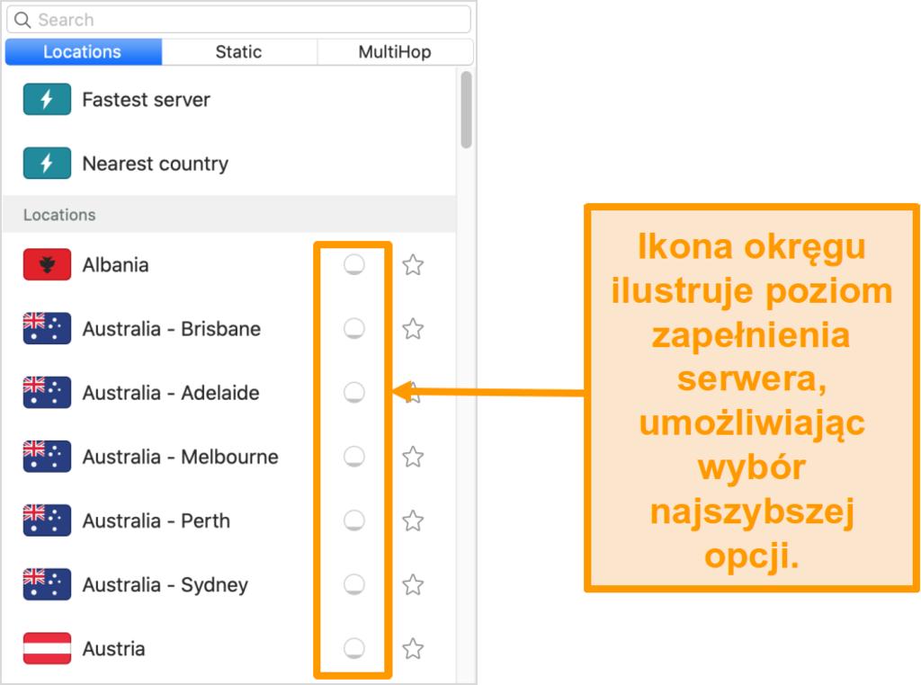 Zrzut ekranu listy serwerów Surfshark pokazujący obciążenie serwera
