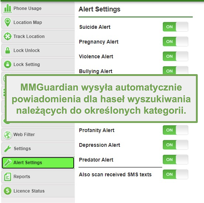 Zrzut ekranu przedstawiający MMGuardian, który automatycznie wysyła alerty dotyczące słów kluczowych opartych na kategoriach