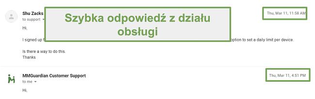 Zrzut ekranu przedstawiający szybką odpowiedź działu obsługi klienta