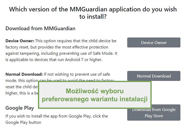 Zrzut ekranu wyboru typu instalacji