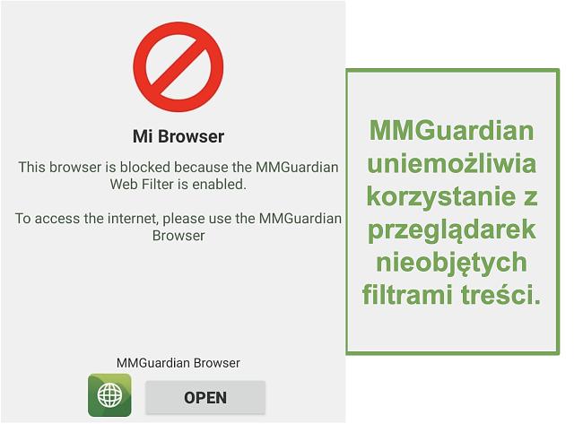 Zrzut ekranu z MMGuardian uniemożliwiający otwieranie przeglądarek bez filtra