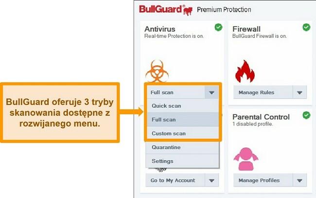 Zrzut ekranu z opcjami skanowania BullGuard