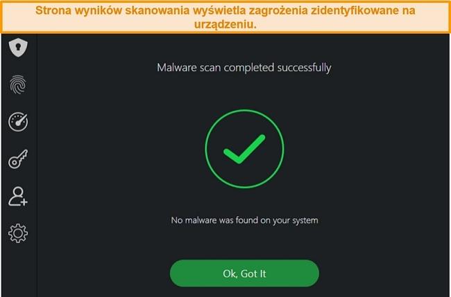 Zrzut ekranu z wynikami skanowania antywirusowego TotalAV