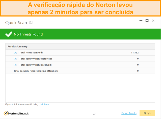 Captura de tela do resultado da verificação rápida do Norton 360