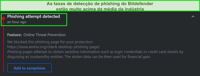 Aviso de phishing na área de trabalho do Bitdefender.