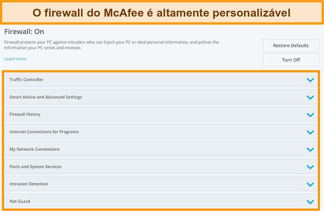 Captura de tela dos recursos do McAfee Firewall