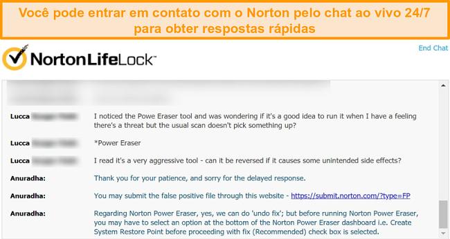 Captura de tela de uma conversa com um agente de suporte ao cliente Norton via chat ao vivo.