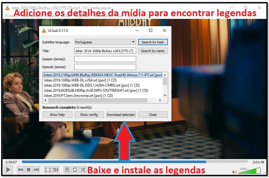 Baixar Subtítulo com VLC