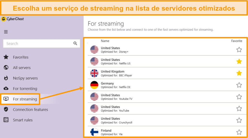 Captura de tela dos servidores de streaming otimizados do CyberGhost no aplicativo Windows