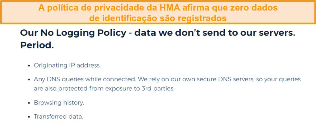 Captura de tela da VPN HMA (Hidemyass) e sua política de privacidade sem registro em log