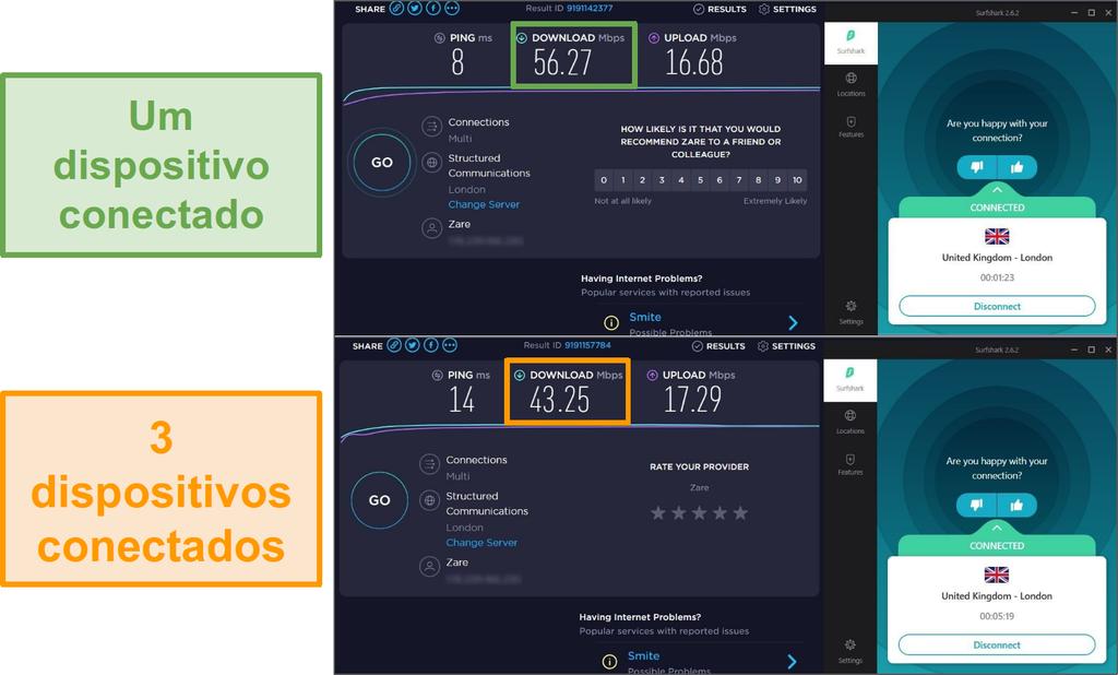 Captura de tela da diferença de velocidade entre 1 dispositivo conectado e 3 dispositivos conectados