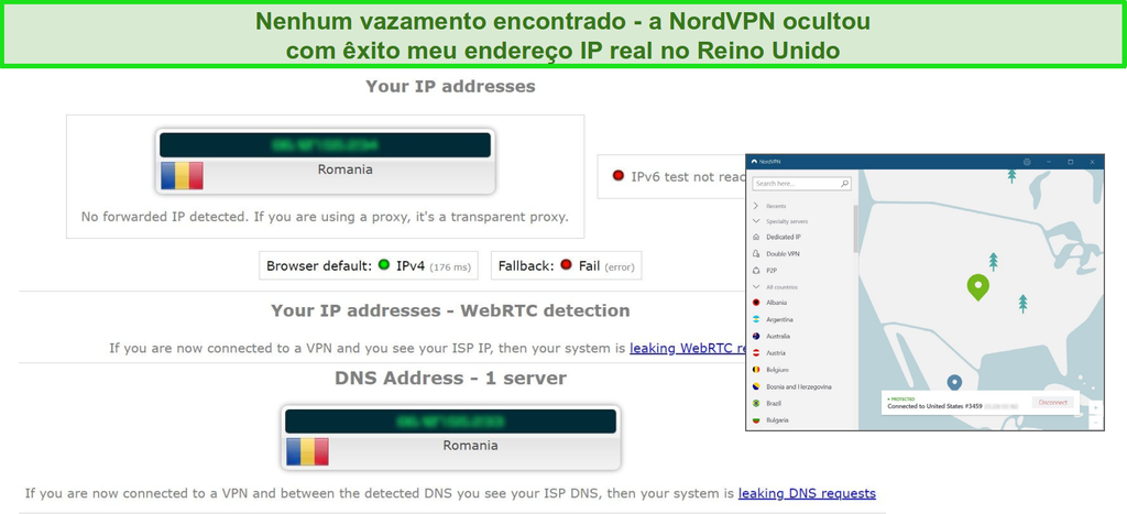Captura de tela do NordVPN passando com êxito em um teste de vazamento de IP, WebRTC e DNS enquanto conectado a um servidor na Romênia