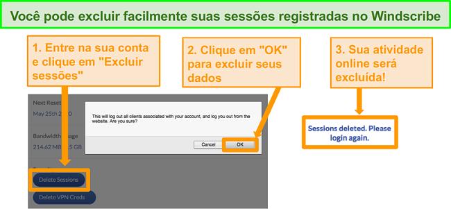 Screenshot da opção para apagar dados na conta Windscribe