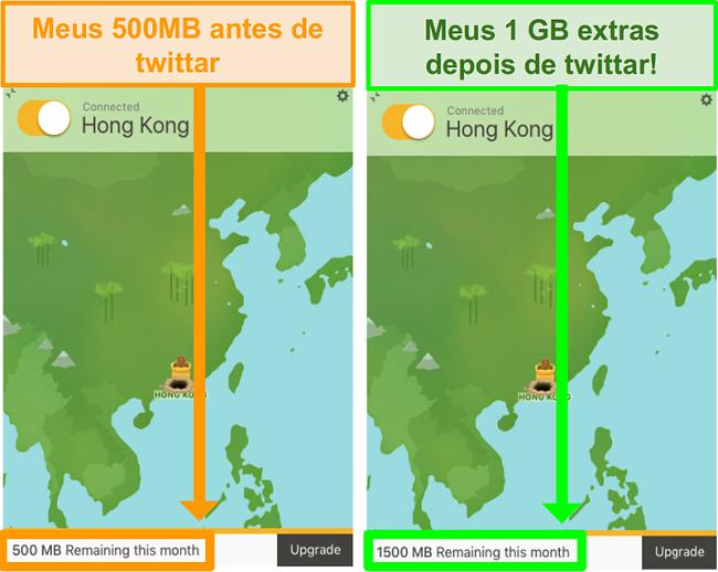 Screenshot do TunnelBear dando 1GB de dados adicionais gratuitamente para um promo do Twitter