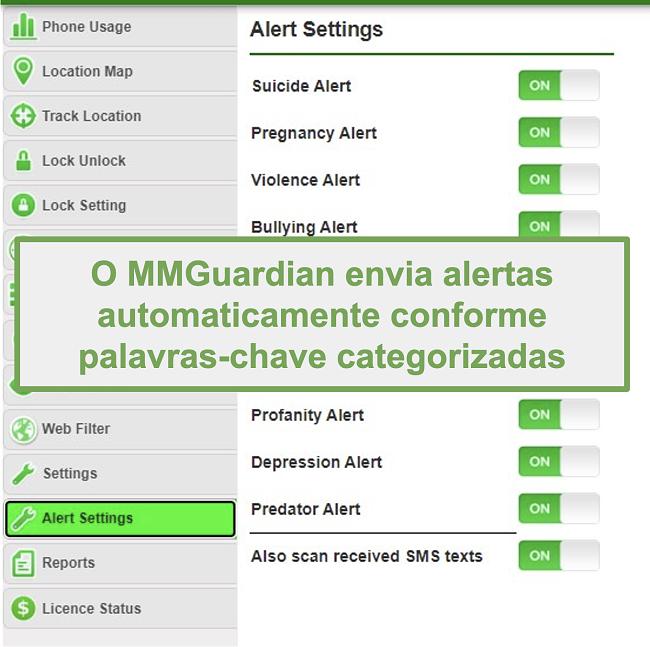 Captura de tela do MMGuardian enviando alertas automaticamente para palavras-chave baseadas em categorias