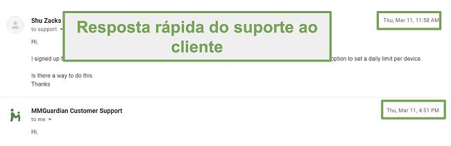 Captura de tela da resposta rápida do suporte ao cliente