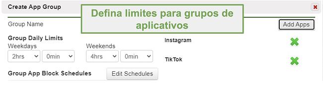 Captura de tela da definição de limites em grupos de aplicativos