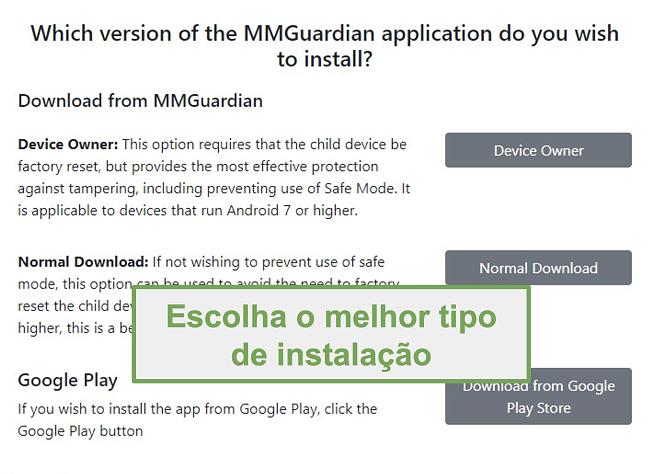 Captura de tela da seleção do tipo de instalação