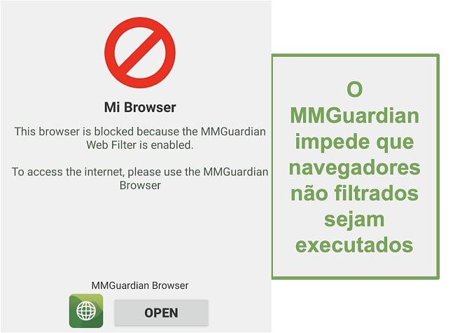 Captura de tela do MMGuardian impedindo a abertura de navegadores não filtrados