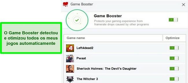 Captura de tela da ferramenta Bullguard Game Booster.