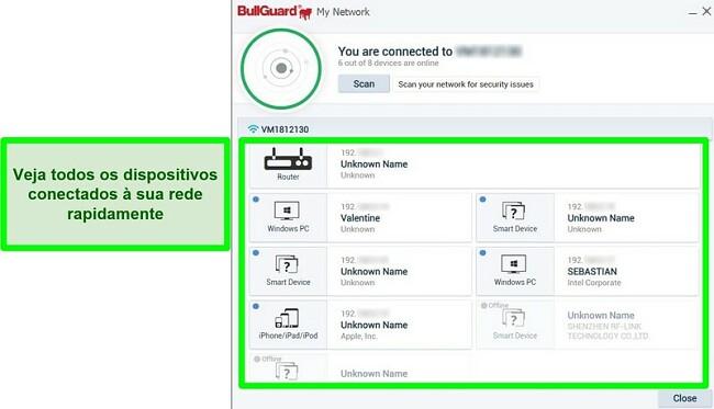 Captura de tela do scanner de rede do BullGuard e dispositivos ativamente conectados a uma rede.