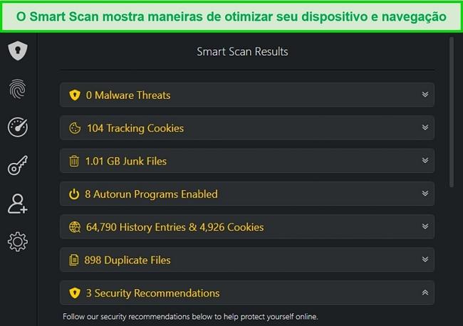 Captura de tela dos resultados do Smart Scan