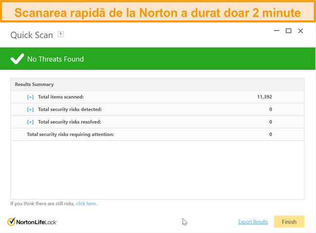 Captură de ecran a rezultatului scanării rapide a Norton 360