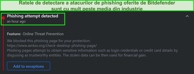 Avertisment Bitdefender pentru phishing pe desktop.