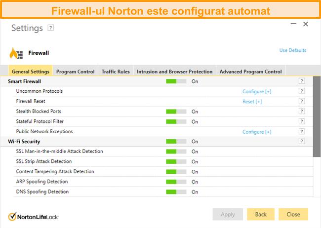 Captură de ecran a setărilor firewall-ului Norton 360 pe Windows.