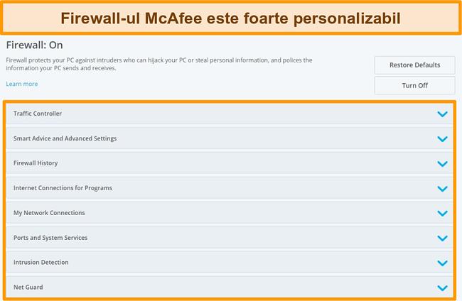 Captură de ecran a funcțiilor McAfee Firewall
