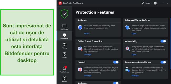 Interfața desktop a Bitdefender