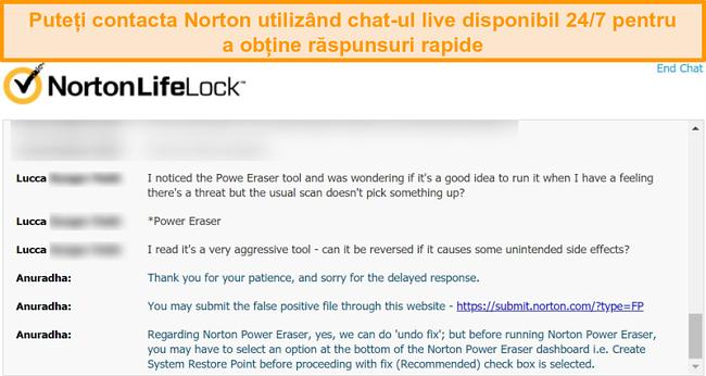 Captură de ecran a unei conversații cu un agent de asistență pentru clienți Norton prin chat live.