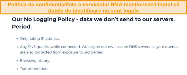 Screenshot de HMA VPN (Hidemyass) și politica sa de confidențialitate fără logare