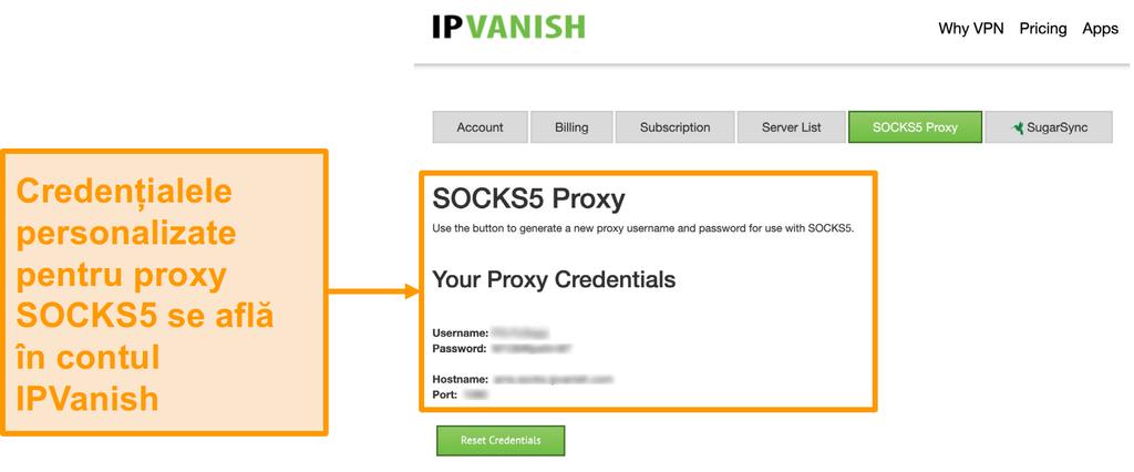 Captura de ecran a certificatelor gratuite pentru serverul proxy SOCKS5 ale IPVanish pe site-ul web
