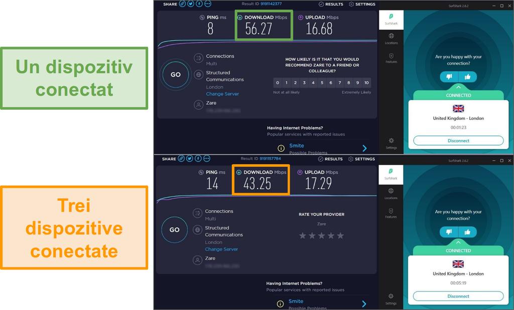 Captura de ecran a diferenței de viteză între 1 dispozitiv conectat și 3 dispozitive conectate