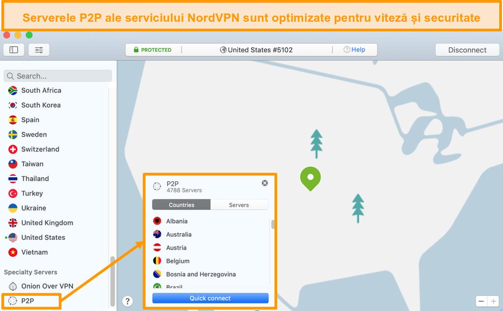 Screenshot de servere P2P NordVPN în aplicația Mac