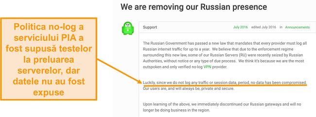 Screenshot al site-ului VPN Private Access Internet cu o postare pe blog care descrie motivul retragerii PIA din Rusia