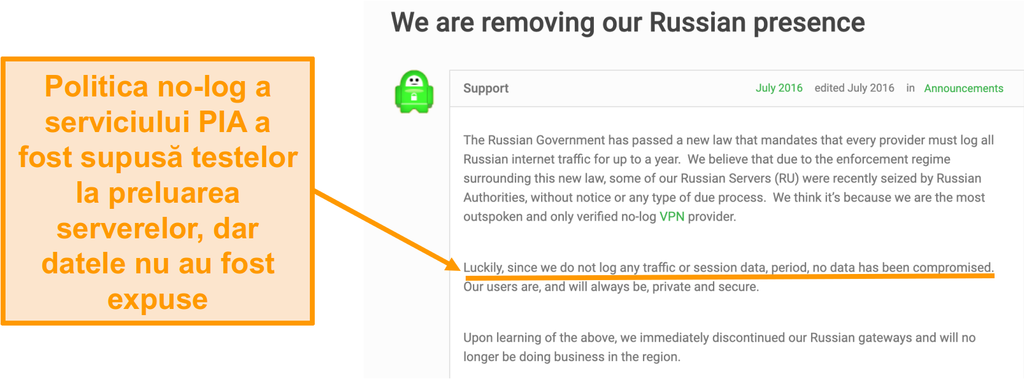 Screenshot al site-ului VPN Private Access Internet cu o postare pe blog care descrie motivul retragerii PIA din Rusia