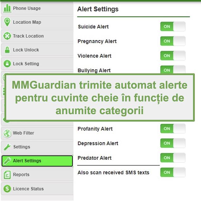 Captură de ecran a MMGuardian care trimite automat alerte pentru cuvinte cheie pe categorii
