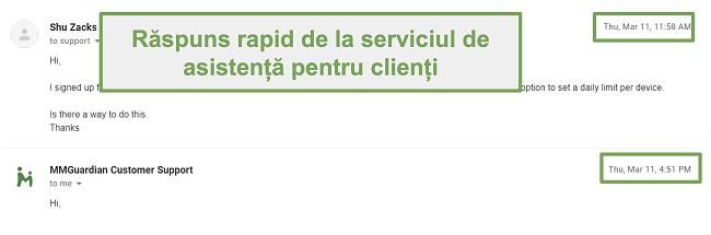Captură de ecran a răspunsului rapid de la asistența pentru clienți