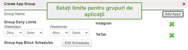 Captură de ecran a setării limitelor pentru grupurile de aplicații