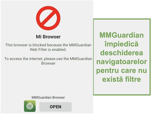 Captură de ecran a MMGuardian împiedicând deschiderea browserelor non-filtrate