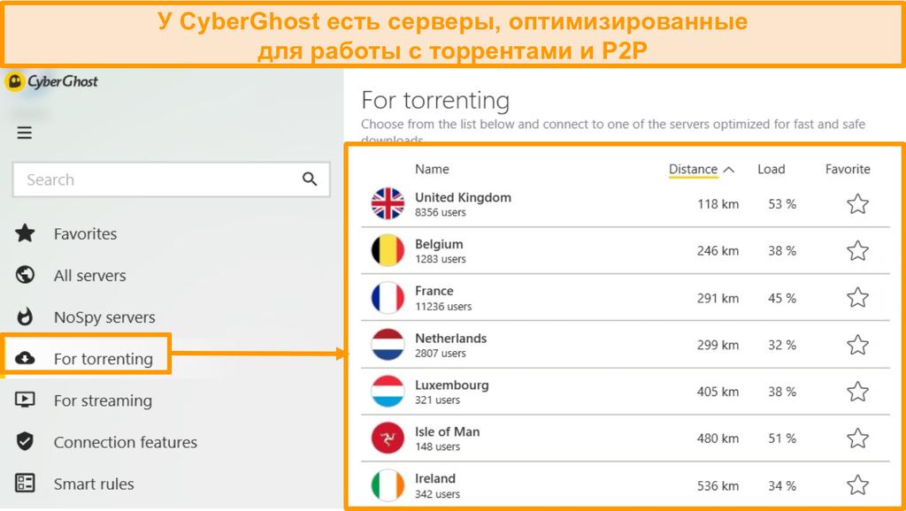 Снимок экрана оптимизированного торрент-сервера CyberGhost в приложении Windows